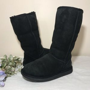 UGG Classic Tall Boot Black Shearling Suede Sheep